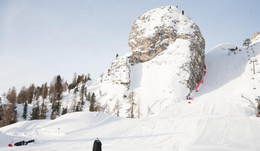 Tenore sullo Schuss finale delle Tofane di Cortina d'Ampezzo